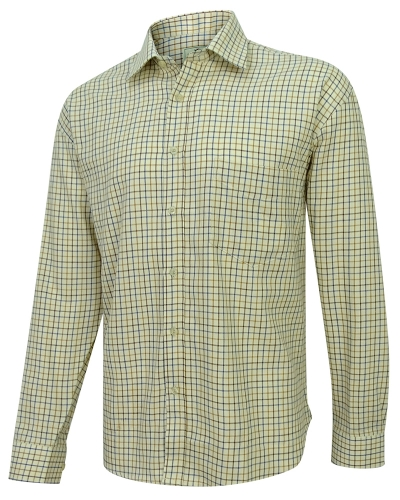 Pure Cotton Tattersall Shirts (Dark Brown/Gold/Navy)