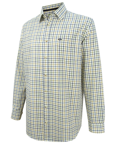 Falkland Herringbone Twill Shirt (Blue/Brown)