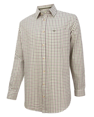 Falkland Herringbone Twill Shirt (Green/Wine)
