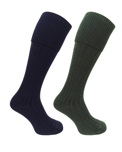 1902 Plain Turnover Top Stocking (Dark Olive/Navy)