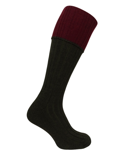 1901 Contract Turnover Top Stocking (Dark Green/Burgundy)