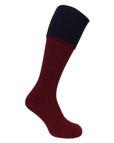 1901 Contract Turnover Top Stocking (Burgundy/Navy)